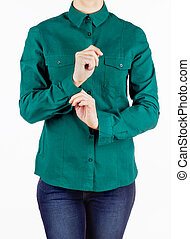 girl in green shirt on a white backround