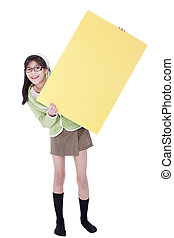 Girl in green sweater holding blank yellow sign