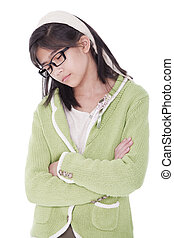 Girl in green sweater sleeping while standing