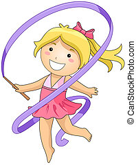 Gymnastics - Girl in Gymnastics with Clipping Path