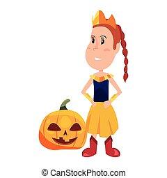 girl in halloween character costume vector illustration