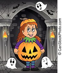 Girl in Halloween costume theme image 1