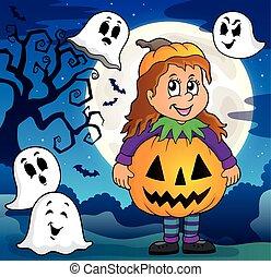 Girl in Halloween costume theme image 3