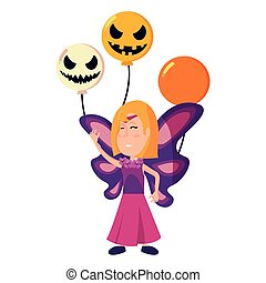 girl in halloween costume with scary balloons