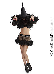 girl in halloween dress in scary pose