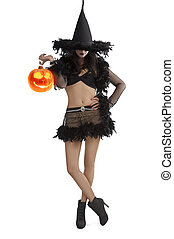 girl in halloween dress standing with party ball