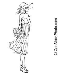 Girl in hat - Beach look. Elegant woman in long dress, hat...