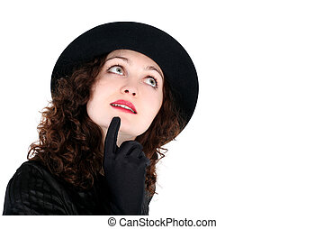 girl in hat isolated on white