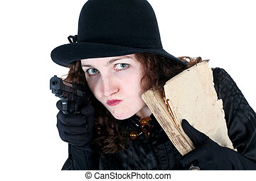 girl in hat with old book and gun isolated on white