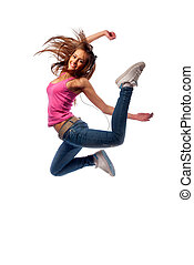 girl in headphones jumps over the floor of happiness