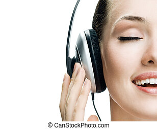 girl in headphones on the white background