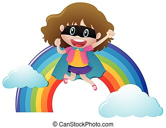 Girl in hero outfit with rainbow background