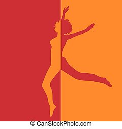girl in high jump in two colors illustration