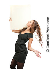 girl in holds an empty poster - long-haired girl holds an...
