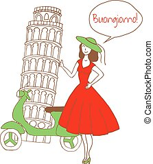 girl in italy - vector illustration of beautiful woman...