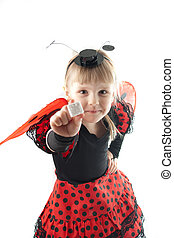 Girl in ladybug costume on white background