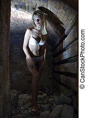 girl in lingerie in mine
