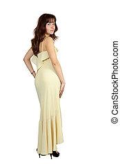 girl in long dress over white background
