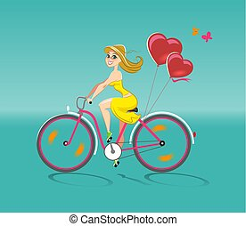 Girl in love goes by bicycle. Vector illustration