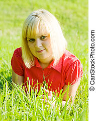 girl in  lying on  grass