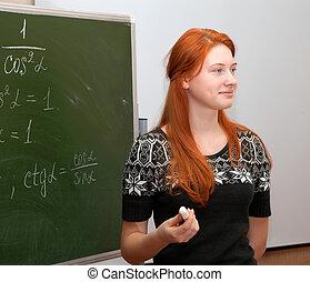 Girl in math class