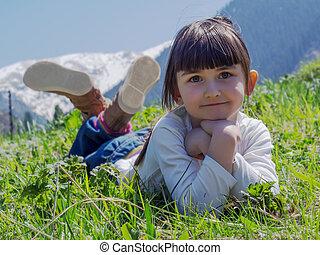 Girl in meadow
