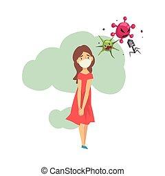 Girl in medical mask cartoon vector illustration