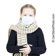 Girl in medical mask