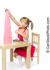 Girl in Montessori kindergarten