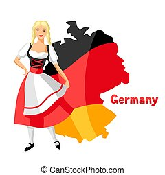 Girl in national costume of Germany on map.