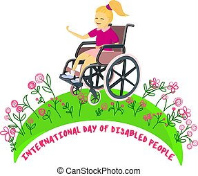 girl in nature. Disabled children in wheelchairs. The child looks at the flowers and is happy. Logo or greeting card with international disabled day.