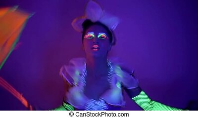 Girl in neon costume