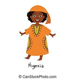 Girl In Nigeria Country National Clothes, Wearing Orange...