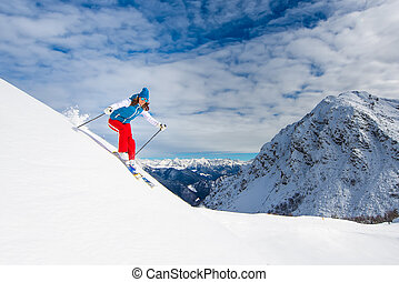 Girl in off-piste skiing - Cheerful girl in off-piste skiing
