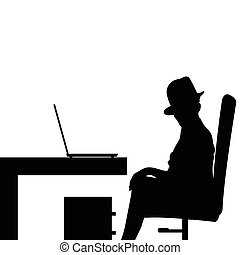 girl in office silhouette illustration