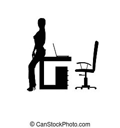 girl in office silhouette illustration