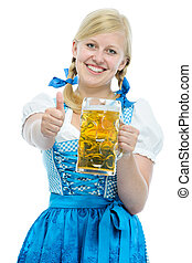 Girl in Oktoberfest dirndl holds Oktoberfest beer stein