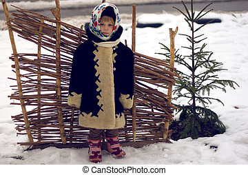 Girl in old Russian style - Baby girl's portrait in old...