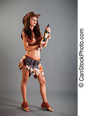 Girl in Open Cowboy Dance Costume Hat Poses with Bottle