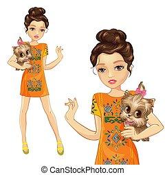 Girl In Orange Dress Holds Dog