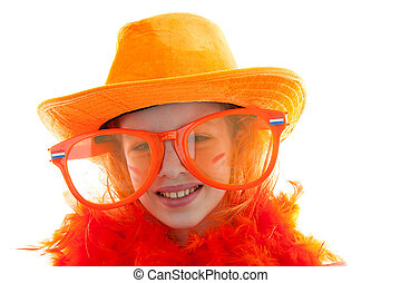 girl posing in orange outfit for soccer game or Dutch Queensday over white background