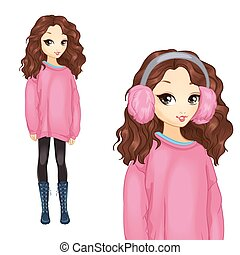 Girl In Oversize Pink Sweater