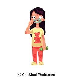 Girl in pajamas brushing teeth with toothbrush, dental health care