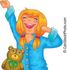 girl in pajamas - little girl in pajamas yawning and...