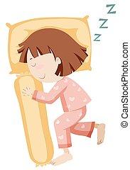 Girl in pajamas sleeping alone