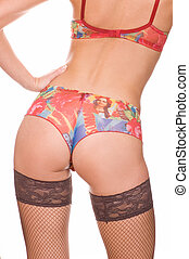 Girl in panties and mesh stockings