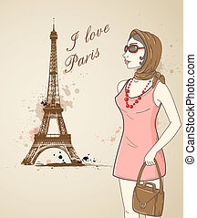 Girl in Paris - Background with girl and Eiffel Tower in...