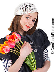 Girl in parisian style with tulip flowers