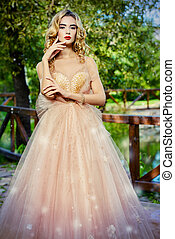 girl in peach dress