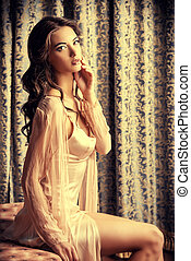 girl in peignoir